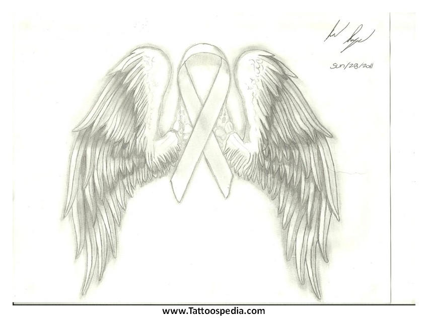 ... %20Angel%20Wings%204 Breast Cancer Ribbon Tattoos With Angel Wings 4