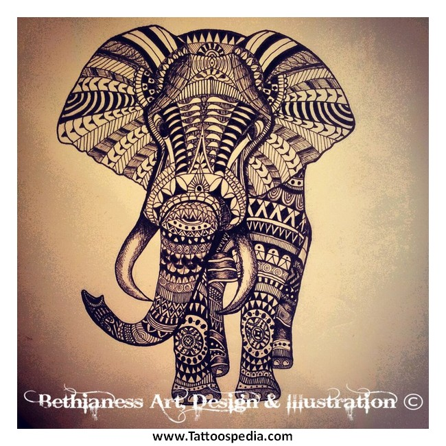 Aztec Elephant Tattoos 1