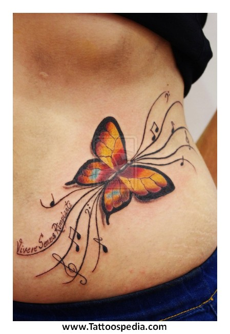 Butterfly Tattoos Lower Stomach Butterfly Tattoos Stomach 5