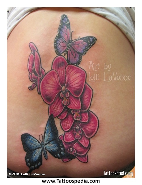 517bb50cbce69 Orchid With Butterfly Tattoo Designs 2