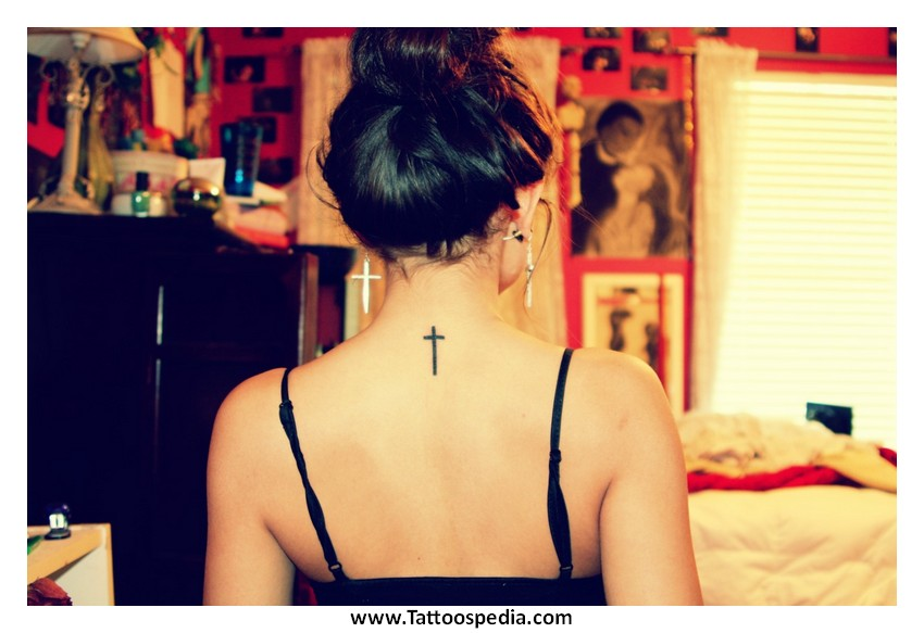 Simple Cross Tattoos For Women On Your Back Simple Cross Tattoo On Neck
