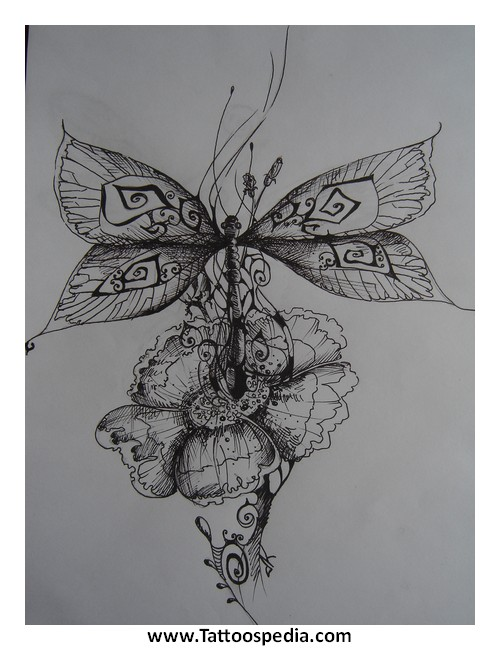 Dragonfly With Lotus Flower Tattoo 1