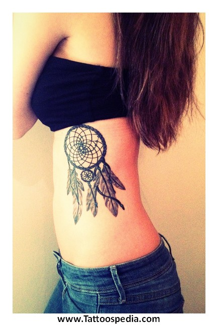 Dreamcatcher Tattoo Rib Cage 40 Custom Dream Catcher Tattoo On Rib Cage