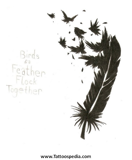 Feather Tattoo With Birds Flying 3