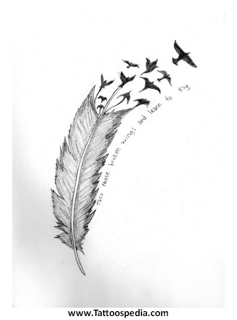 Feather Tattoo With Quote