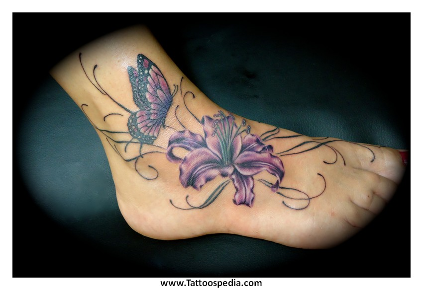 Flower Tattoos Designs For Women On Foot 1
