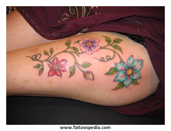 Simple Flower Tattoos on Thigh Flower Tattoos on Thigh 3 «