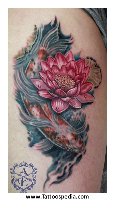 Skull With Roses Tattoo Meaning Koi Fish Lotus Flower Tattoo