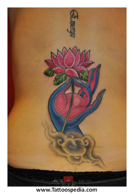 Lotus Flower Lower Back Tattoo Designs 4