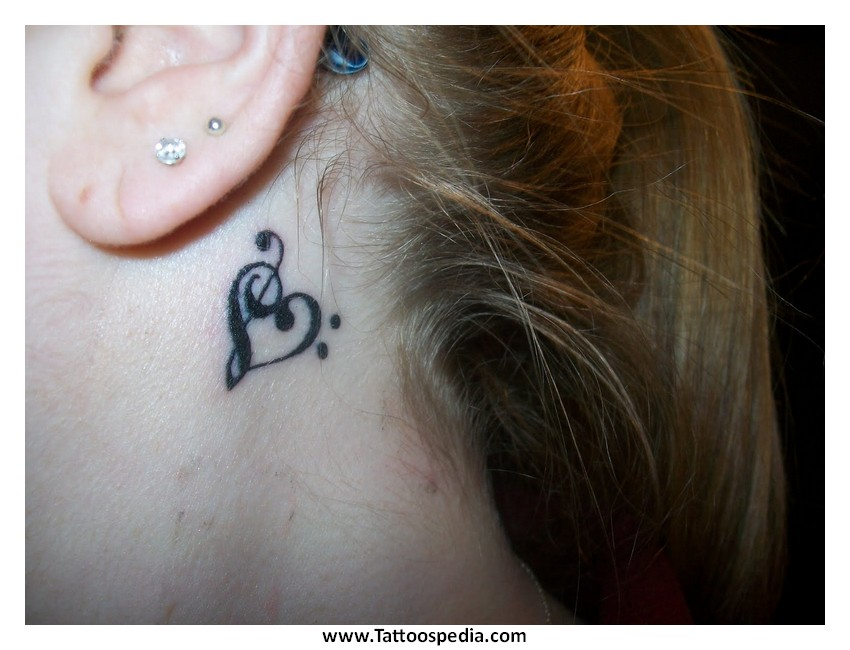 Heart tattoos for Treble and bass clef heart tattoo