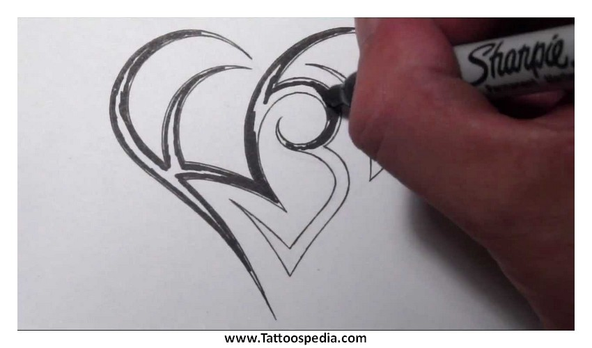 heart tattoos made out of letters 2 |