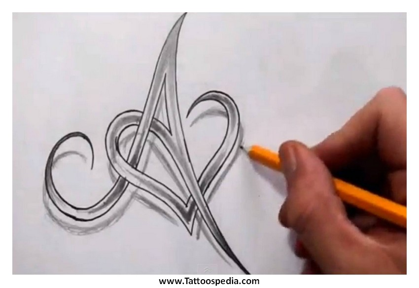 Heart Tattoo Designs With Letters Heart Tattoos Using Letters 1