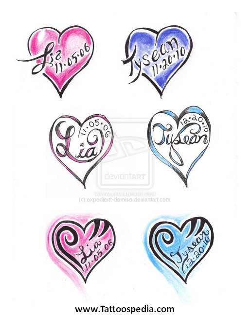 Name Tattoo Designs With Hearts 6