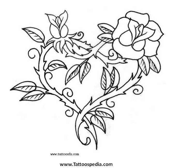 Tattoo Designs Roses And Hearts 2 |