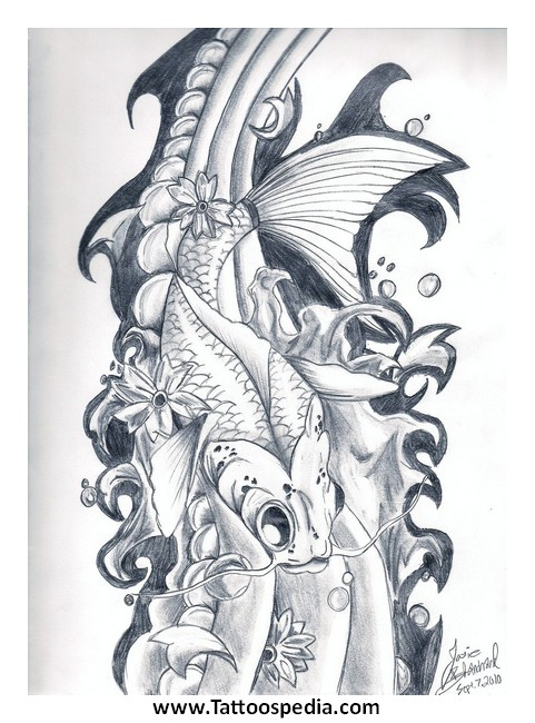 2 koi fish tattoo designs 4 for What does a koi fish represent
