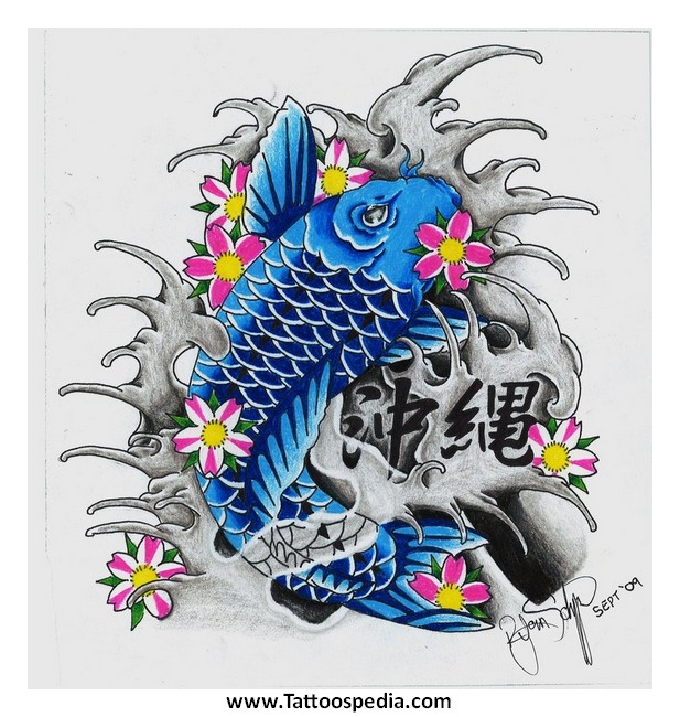 Red and blue koi fish tattoo 1 for Blue and white koi fish