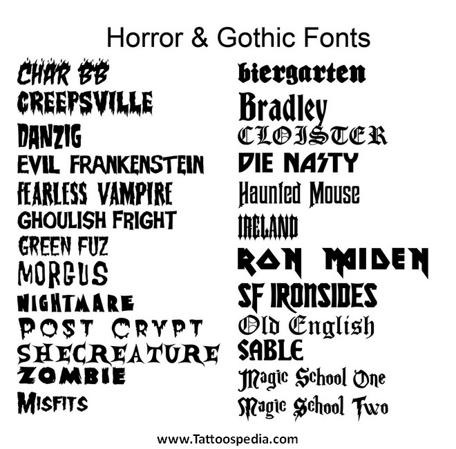 pretty fonts for tattoos