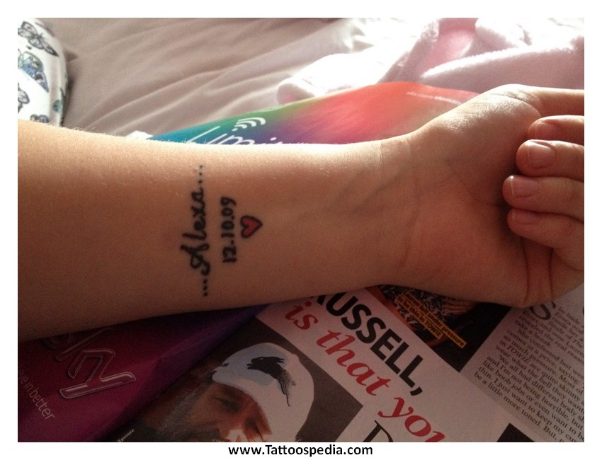 Wrist Tattoos Of Childrens Names 2