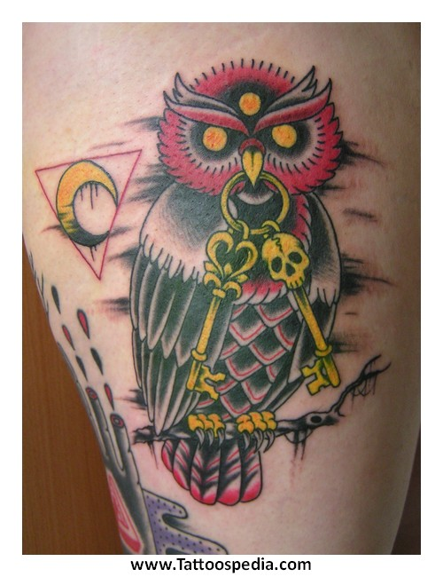 Owl tattoo with clock meaning 7 for What does a clock tattoo mean