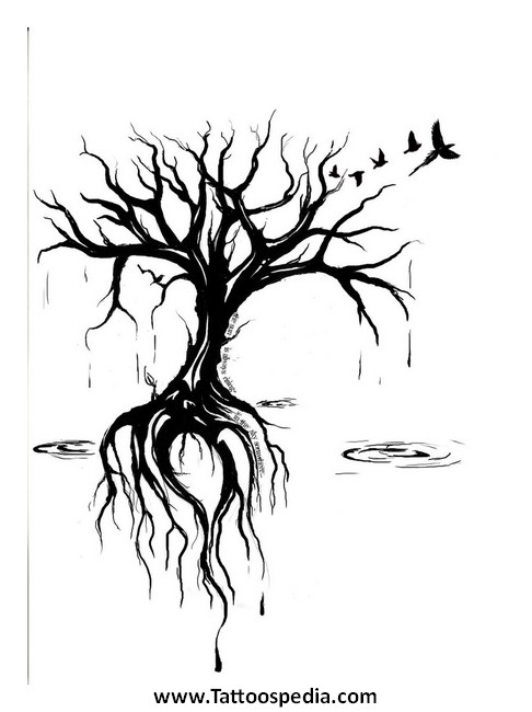 tree of life tattoo with roots sketch coloring page. Black Bedroom Furniture Sets. Home Design Ideas