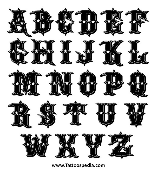 Tattoo Lettering Styles Alphabet 1