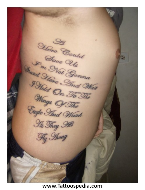Tattoos of lettering on ribs 3 for Tattoo writing on ribs