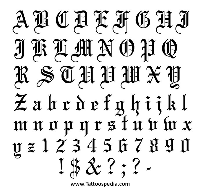 Tattoo Fonts Numbers 4
