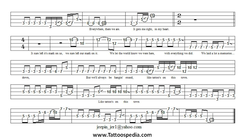Tattoos On This Town Guitar Chords 2  