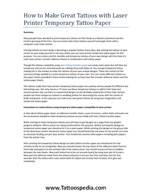 Temporary tattoo laser printer paper 2 for How to make temporary tattoos with printer