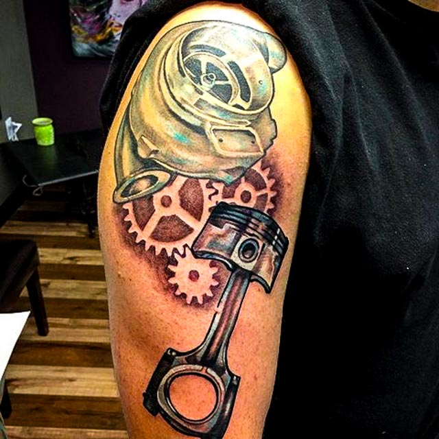 Piston tattoo with names pictures to pin on pinterest for Piston and wrench tattoo