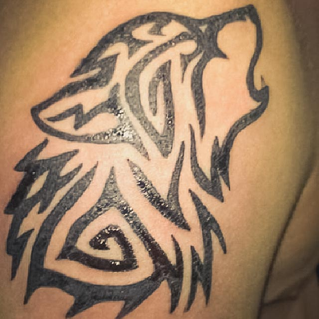 tribal wolf tattoo. Black Bedroom Furniture Sets. Home Design Ideas
