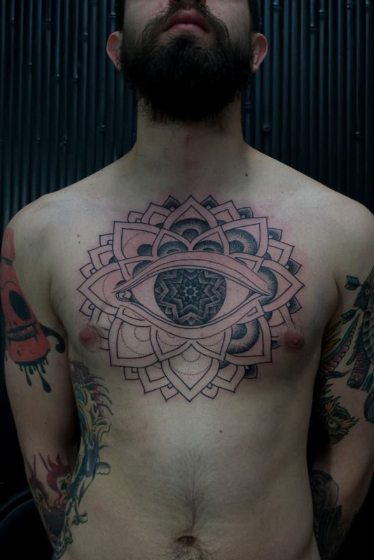 Eyeball Chest Tattoo