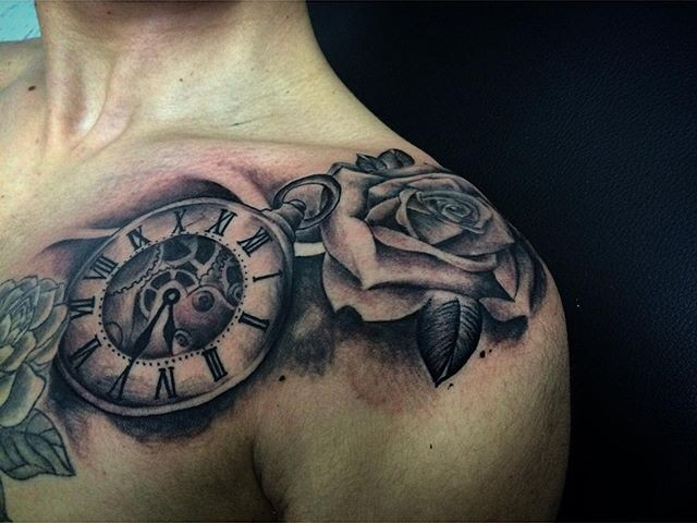 grandfather clock face tattoo. clocks u0026 watches tattoo 1 grandfather clock face